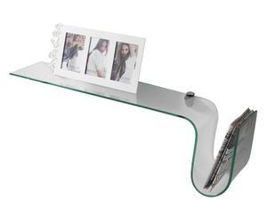 mensola in vetro trasparente hook - l 90 cm