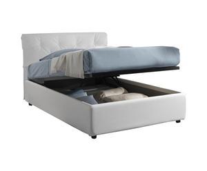letto 1 piazza e mezza contenitore in ecopelle NICOL bianco - 212x105x130 cm