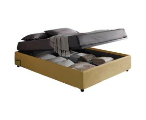 letto matrimoniale contenitore in tessuto SOMMIER beige - 205x36x171 cm