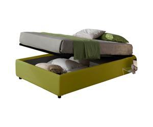 letto 1 piazza e mezza contenitore in ecopelle SOMMIER verde - 205x36x131 cm