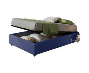 letto 1 piazza e mezza contenitore in ecopelle SOMMIER blu - 205x36x131 cm