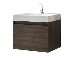 Mobile bagno a sospensione in legno wengè con 1 anta e lavabo - 60X54X48 cm