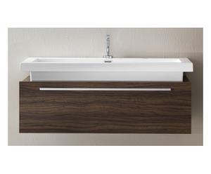 Mobile bagno a sospensione in legno wenge' scuro con cassetto e lavabo - 100x41x48 cm