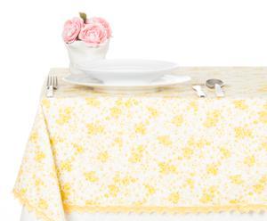 Tovaglia ovale in cotone Sweet Flower giallo - 160x215 cm
