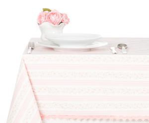 Tovaglia ovale in cotone Sweet Stripe rosa - 160x215 cm