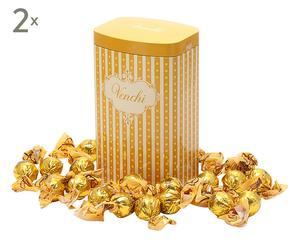 Set di 2 lattine con praline ricoperte di cioccolato Duble d'or - 10X7X20 cm