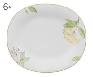 Set di 6 piatti ovali in porcellana Green Garland - 23x19 cm