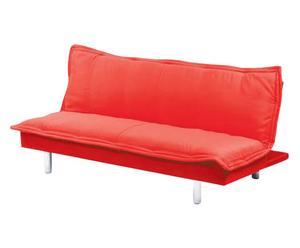 divano letto in metallo e tessuto letizia rosso - 180x84x42 cm