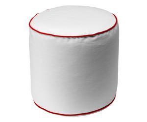 Pouf rotondo in cotone George bianco/rosso - 45x47 cm