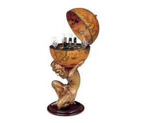 Globo bar da terra con statua in resina Celik ocra - D 50/h 109 cm