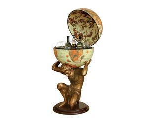 Globo bar da terra con statua in resina Celik beige - D 50/h 109 cm