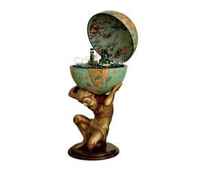 Globo bar da terra con statua in resina Celik verde - D 50/h 109 cm