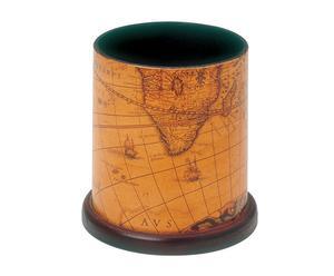 Portapenne in mdf con cartina geografica - D 10 cm