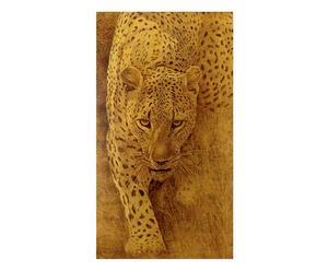 Riproduzione su tela Leopardo in foglia oro - 70x120 cm