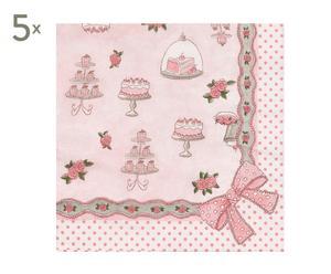 Set di 5 confezioni di 20 tovaglioli in carta Pasticcini rosa - 16x38x11 cm