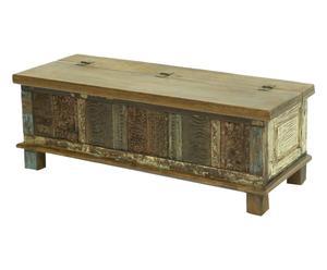 Cassapanca con apertura a ribalta in legno di Sheesham multicolor - 117x42x45 cm