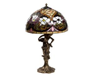 Lampada Tiffany in vetro e ottone ocra Statua - 65x40 cm