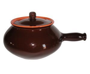 Cuocipatate con coperchio in terracotta marrone - h 15 d 22 cm