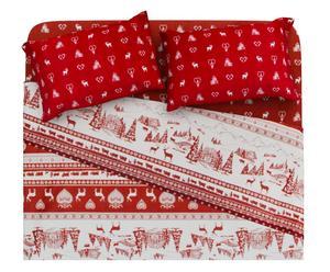 Completo letto matr. in cotone gardenia - rosso