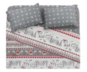 Completo letto matr. in cotone gardenia - grigio