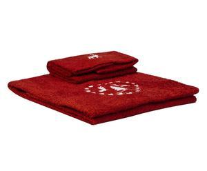 Coppia di spugne in cotone cortina rosso - (viso+ospite)