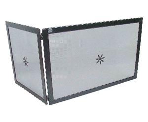 Parascintille in ferro battuto ad angolo con fiorellino - 91x50x51 cm
