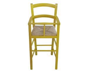 Seggiolone bimbo in legno e paglia nan giallo - 46x101x46 cm