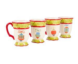 Set di 4 tazze in ceramica decorata xmas - 10x13x13 cm