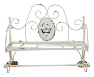 Porta asciugamani da parete in ferro bianco - 56x43x19 cm
