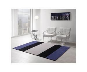 Tappeto in acrilio strips bianco, blu e nero - 240x170 cm