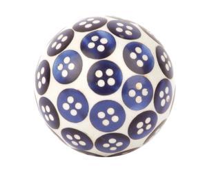Pomello in ceramica e metallo bottoni blu - d 3,7/h 6 cm