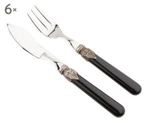 Set di 12 posate da pesce in acciaio classic - nero