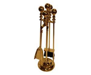 Set di accessori per camino in ottone classico italia - 5 pezzi