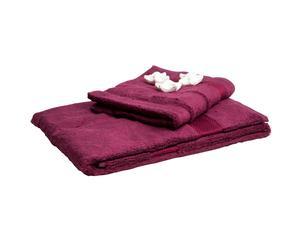 Set di 2 asciugamani in cotone con saponette - prugna
