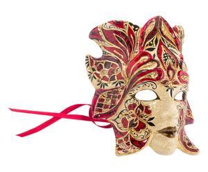 Maschera con decori pittorici viso rossa - 30x25 cm