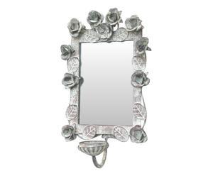 Portacandela da parete in metallo con specchio Garden - 20x30x7 cm