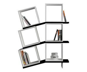 Libreria a 6 scomparti in nobilitato Balance bianco/nero - 100x147x25 cm