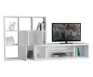 Mobile tv con libreria Debi bianco - 110x215x45 cm