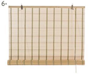 Set di 6 tende veneziane in midollino color naturale - 120x260 cm