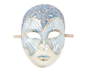 Maschera con decori pittorici Viso blu - 27x25 cm