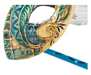 Maschera con manivo destro Occhi blu - 20x8 cm