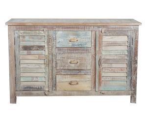 Credenza a 2 ante e 3 cassetti in legno - 41x32x120 cm