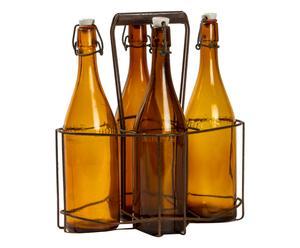 Cestello porta bottiglie in metallo anni 50 - 30x35x20 cm