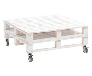 Tavolino con ripiano in legno di abete Pallet bianco - 80x35x80 cm