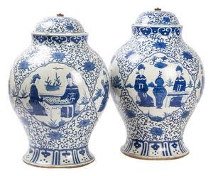 Coppia di potiche cinesi in porcellana - 50x29 cm