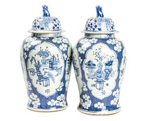 Set di 2 Potiche cinesi vecchia manif. dipinte a mano Meiying - D 24/H 52 cm