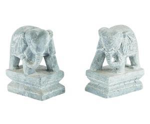 Set di 2 sculture scolpite a mano in pietra Elephant - 10x13x6  cm