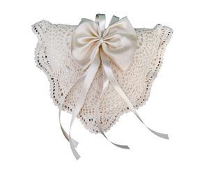 Cuscino triangolare porta fedi in raso e cotone beige - 22x6x23 cm