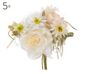 Set di 5 bouquet decorativi bianco - d 15 cm