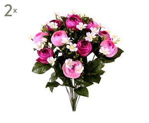 Set di 2 bouquet decorativi con ranuncoli rosa - d 30 cm